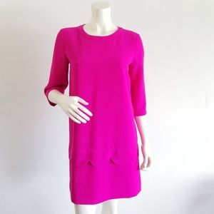 Kate Spade Hot Pink Scalloped 3/4 Sleeve Dress